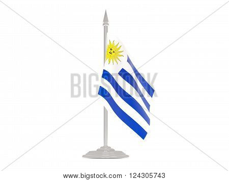 Flag Of Uruguay With Flagpole. 3D Render