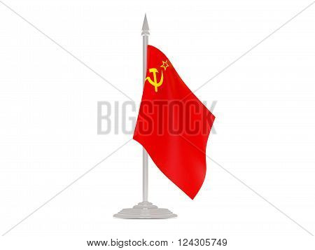 Flag Of Ussr With Flagpole. 3D Render