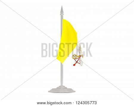 Flag Of Vatican City With Flagpole. 3D Render