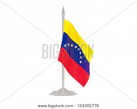 Flag Of Venezuela With Flagpole. 3D Render