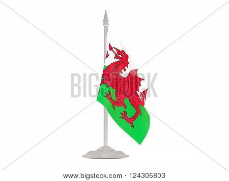Flag Of Wales With Flagpole. 3D Render