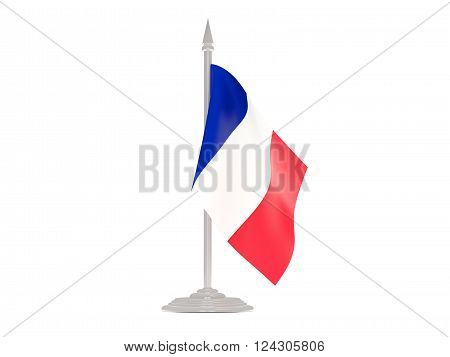 Flag of wallis and futuna  with flagpole isolated on white. 3d render