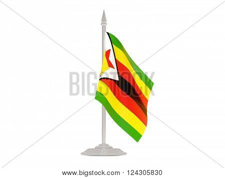 Flag Of Zimbabwe With Flagpole. 3D Render
