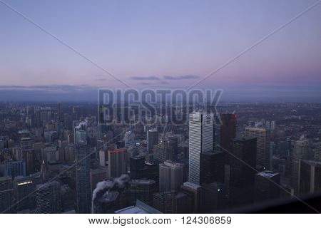 Toronto Canada - January 30 2016: Skyscrapers in Downtown Toronto high view from CN Tower.