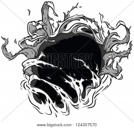 This vector clip art illustration is designed to appear that something behind the background is ripping through to the other side. What that something will be is up to you! The illustration is neatly organized into layers for easy customization.