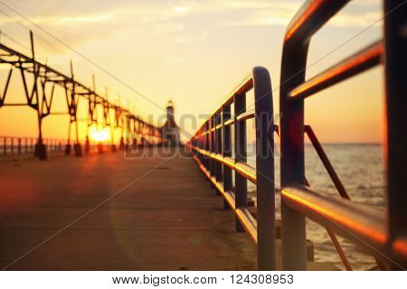 Lighthouse at sunset, St Joseph, Michigan