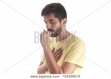 Respiratory disease. Young man coughing on white background