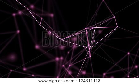 Background for communications, technology, science, computer networks, internet, social media. Purple on black. 3D rendering.