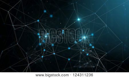 Plexus fantasy abstract technology and engineering background. 3d rendering.