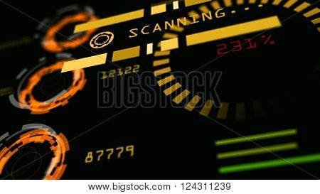 Abstract advanced technology control panel user interface. 3d rendering.