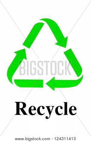 Recycle Sign for Environmental Conservation isolated on white background
