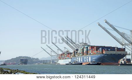 Multiple Cargo Ships Entering The Port Of Oakland Back To Back
