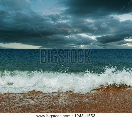 Sea and beach storm in over dark tone Wave befor the tsunami