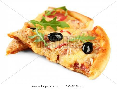 Slices of fresh baked pizza isolated on white