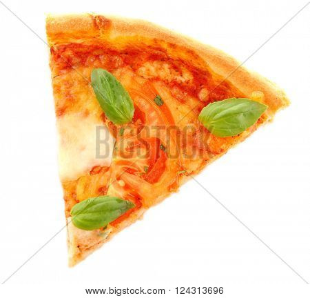 Margherita pizza slice, isolated on white