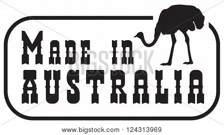 The imprint made in Australia. Stylized imprint.