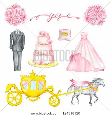 Illustration with watercolor Wedding elements isolated on white background