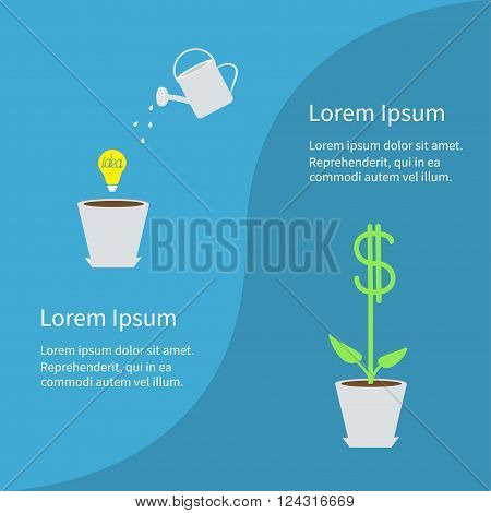 Financial growth concept. Business infographic template. Flower pot light bulb idea watering can dollar tree plant. Flat design. Blue background. Vector illustration.