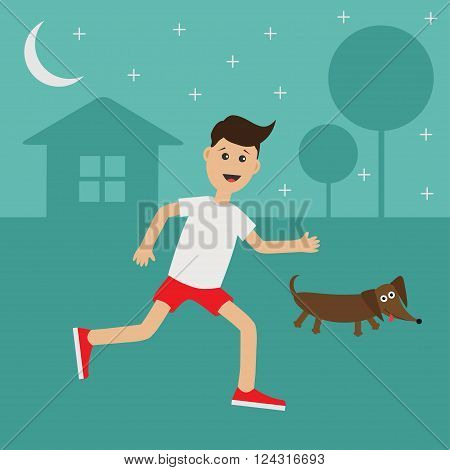 Cartoon running guy Dachshund dog. Night summer time. House tree silhouette Stars shining Run boy Jogging man Runner outside Fitness cardio workout Running male character Flat Vector