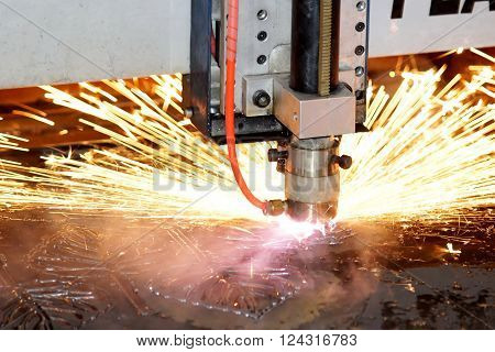 Closed up Plasma cutting processing in the Industry