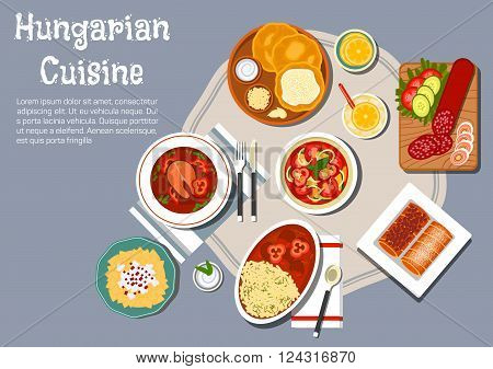 Traditional hungarian cuisine fried bread langos with sour cream and cheese, served with winter salami, egg noodles with cheese and meat stew, spicy fish soup with hot paprika pepper, vegetable salad and stove cakes with lemonade