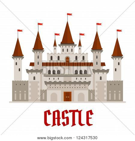 Romantic medieval castle building with gray stone facade in gothic style and variety of turrets topped with red flags. Architecture, history theme or fairytale themes