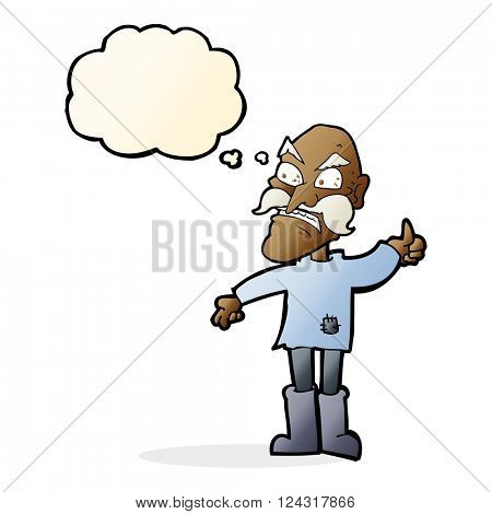 cartoon angry old man in patched clothing with thought bubble