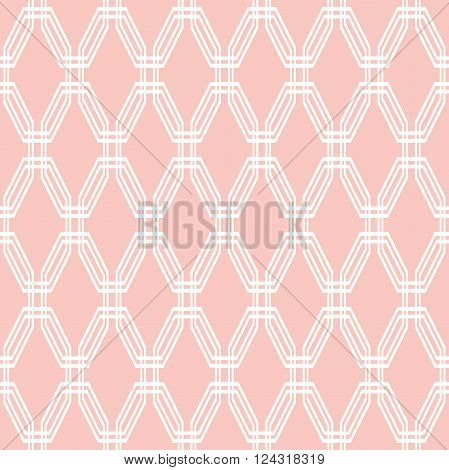 Geometric fine abstract with white octagons and pink background. Seamless modern pattern