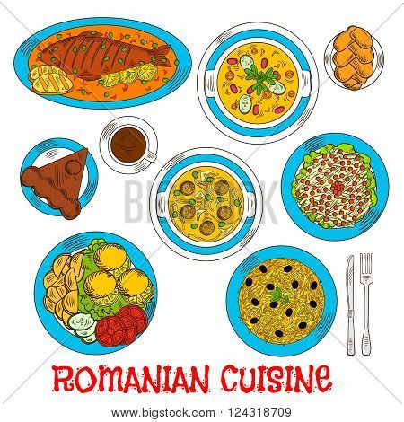 Romanian cuisine elements with whole fish and grilled corn mamaliga, meatball and vegetarian bean soup, fried potatoes with fresh vegetables and lemon, pickled cabbage salad and sweet bread with cheese, chocolate cake amandine and coffee