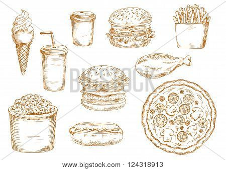 Sketch of fast food with hamburger and cheeseburger with fresh vegetables, coffee and soda paper cups, pizza and hot dog, chicken leg and ice cream cone, boxes of french fries and popcorn