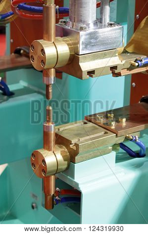 Closed up Dot welder machine for industrial working