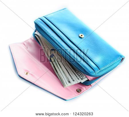 Blue wallet isolated on white.