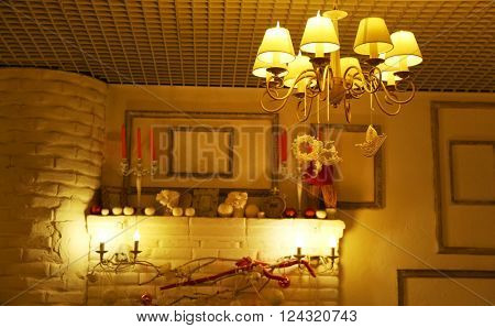 Cozy interior in restaurant