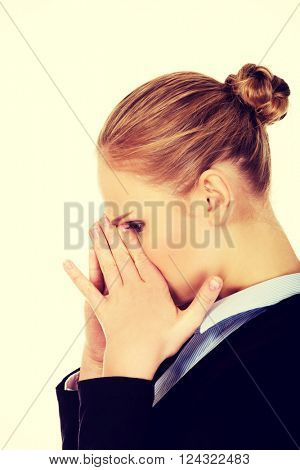 Young business woman with sinus ache