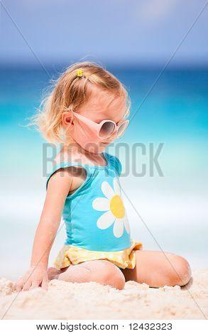 Little Girl At Tropical Beach