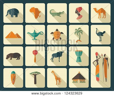 Africa jungle ethnic culture travel icons set