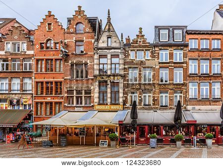 Antwerp Cityscape With Traditional Brick Houses