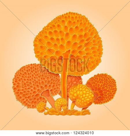 Group of orange fantastic mushrooms. Orange cartoon fungus. Hand drawn illustration. Icon for game. Suit for sticky label