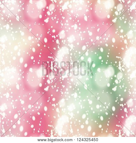 Seamless pattern with colorful blur background and realistic snow overlay.  Background tile for winter holidays. Abstract texture template.