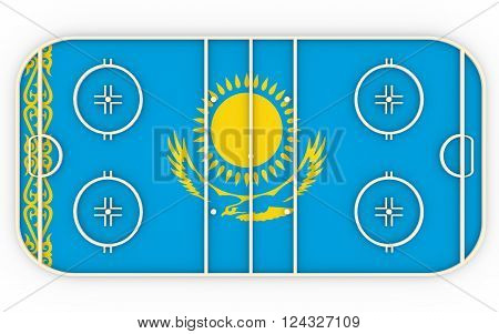 Ice hockey field textured by Kazakhstan flag. Relative to world competition . 3D rendering. Simple playground
