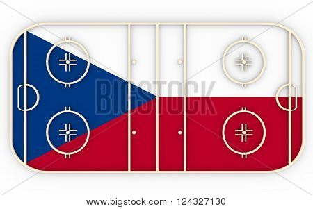 Ice hockey field textured by Czech flag. Relative to world competition . 3D rendering. Simple playground