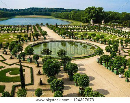 L'Orangerie garden in Versailles. Paris France .