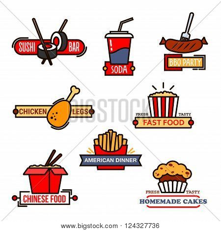 Fast food cafe and sushi bar, grill menu and bakery symbols with thin line icons of chinese food, french fries and popcorn, soda cup and grilled sausage, sushi roll with chopsticks and chicken leg, decorated by banners