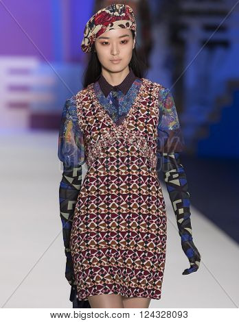 New York City, USA - February 11, 2016: Yue Han walks the runway during the Desigual Women's show as a part of Fall 2016 New York Fashion Week