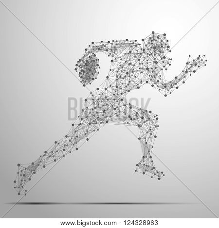 Abstract football player in motion with cybernetic particles. Vector mesh spheres from flying debris. Footballer running polygonal thin line concept.