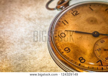 Russian Antique Pocket Watch On Brown Background