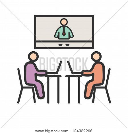 Video, conference, business icon vector image. Can also be used for humans. Suitable for use on web apps, mobile apps and print media.
