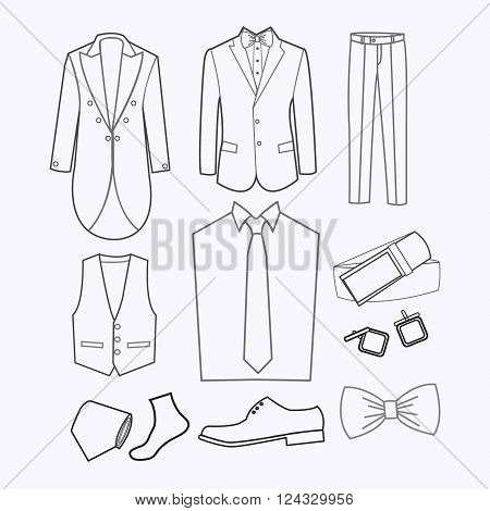 set of Fashion collection of man wardrobe. Various male clothing - Set of evening men clothes and accessories icons - Illustration