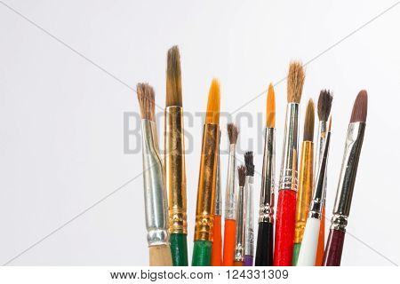 Set Of Watercolor Brushes On White Background