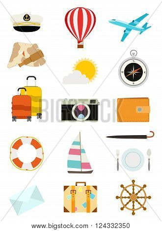 set of tourism icons. sailboat hot air balloon luggage umbrella airplane camera compass mail wallet captain hat yachting and food symbols. vector illustration
